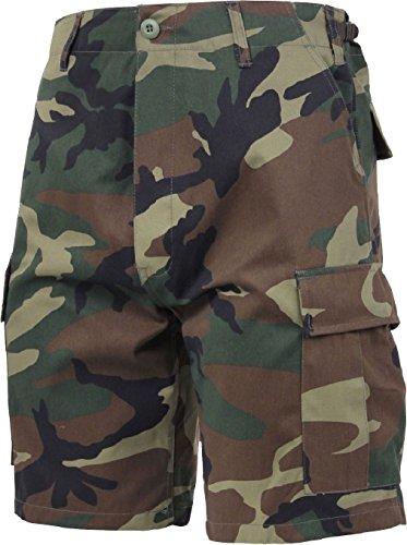 Mens Woodland Camouflage Military BDU Cargo Shorts (Woodland Spandex Shorts)
