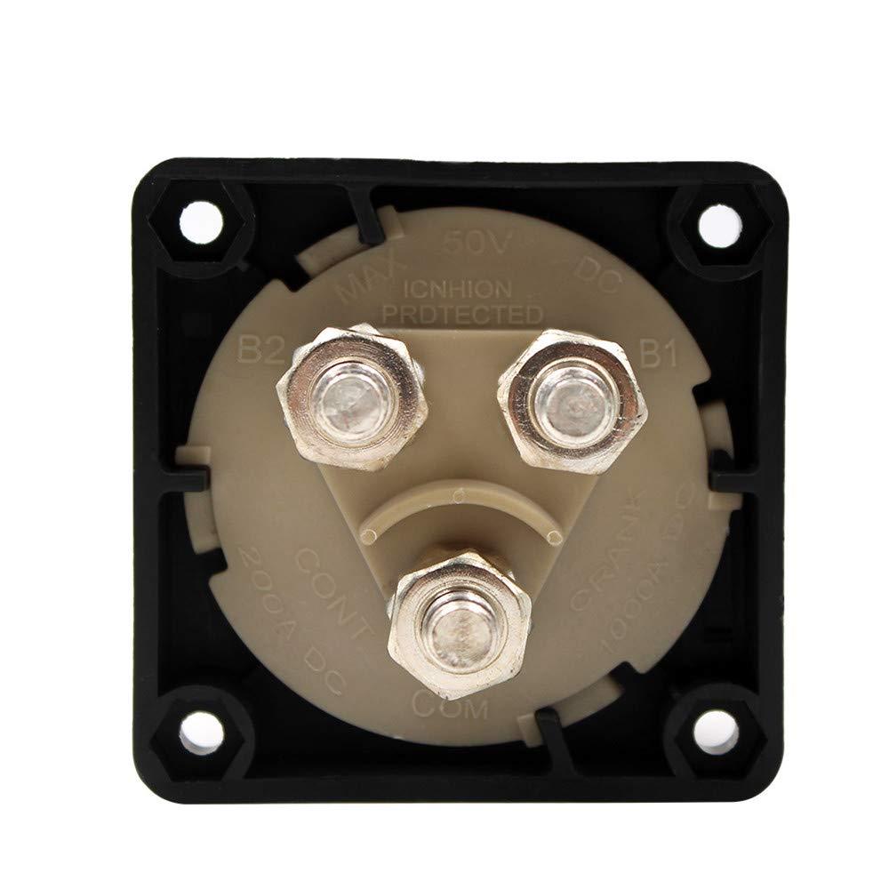 WIWIR Batterie-Trennschalter 12-48V 200//1250A 1-2-BOTH-OFF Akku Power Cut Off Schalter f/ür Auto-Wohnmobil-Marineschiff