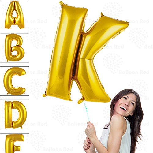 40 Inch Giant Jumbo Helium Glossy Gold Foil Mylar Balloons for Party Decorations, Letter K – Premium Quality, Durable & Reusable – Custom Messages – Graduation, Birthday, Anniversary, Bridal -