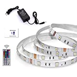 LED Strip Lighting Kit 5 Meters 16.4ft None-waterproof Color Changing SMD5050 150 LEDs + 44 Key IR Controller + 12V2A DC power Adapter