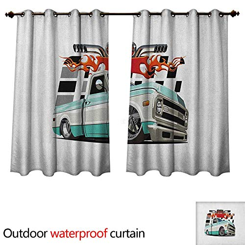 Anshesix Truck Outdoor Curtains for Patio Sheer Lowrider Pickup with Racing Flag Pattern Background Speeding on The Streets Modified W120 x L72(305cm x 183cm)