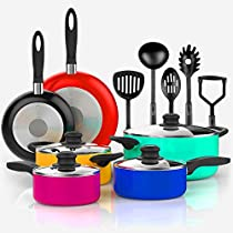 Aluminum Cookware Set Nonstick 15-Pieces Set Pots Pans and Cooking Utensils Multi Color Large and Small Pots and Pans Set for Kitchen and Oven eBook by Easy&FunDeals