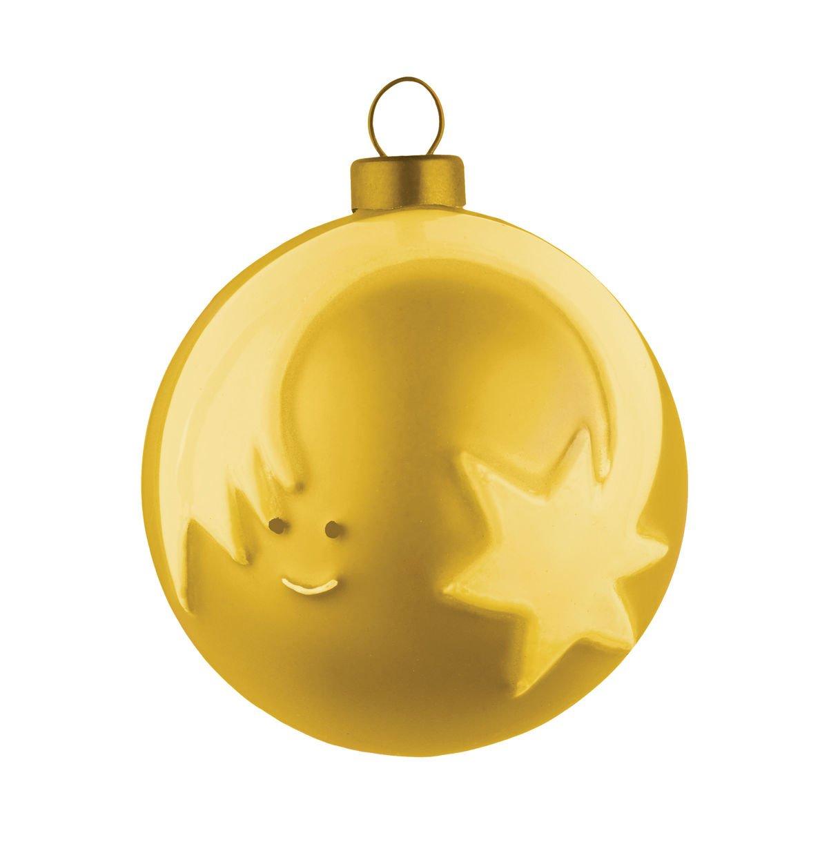 Alessi AMJ13 7 GD Stella Cometa Weihnachtsbaumkugel 4 Stück aus Glas, Gold