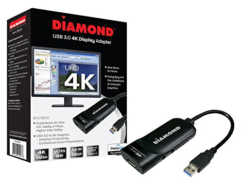 Diamond USB 3.0 to DisplayPort 4K UHD (Ultra-High-Definition) Video Graphics Adapter for Multiple Monitors up to 3840x2160 (DisplayLink DL-5500 Chipset - Supports Windows 10, 8.1, 8, 7) (Chip 5500)