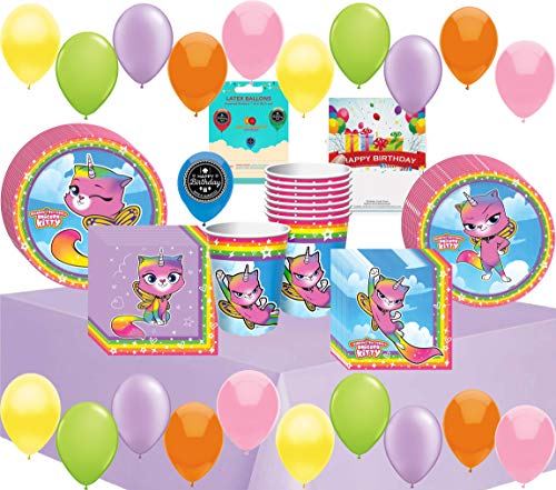 Rainbow Butterfly Unicorn Kitty Birthday Party Supplies Bundle of Cups Plates Napkins Balloons Table Cover Happy Birthday Card Bundle -