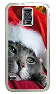 Samsung S5 case stylish covers Santa Cat Holiday PC Transparent Custom Samsung Galaxy S5 Case Cover