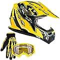 Typhoon Youth Kids Offroad Gear Combo Helmet Gloves Goggles Dot Motocross Atv Dirt Bike Mx Motorcycle Yellow Large