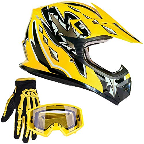 Small TCT-MT Helmet w//Goggles+Gloves DOT Youth Kids Motocross Helmet Green Flame Dirt Bike ATV Offroad Child Helmets Gloves Goggles S~XL