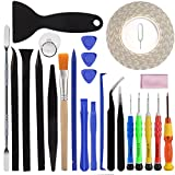 25 Pieces Repair Tool Kit Screwdriver - Opening Pry Tools - Display Double Adhesive Tape - Cleaning Set-for iPhone 4 4S 5 5C 5S 6 6Plus 6S 7 7plus iPad Air Mini iPods - FindUWill