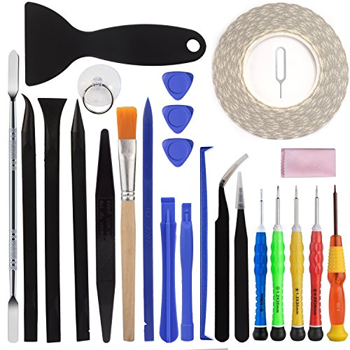 25 Pieces Repair Tool Kit Screwdriver - Opening Pry Tools - Display Double Adhesive Tape - Cleaning Set-for iPhone 4 4S 5 5C 5S 6 6Plus 6S 7 7plus iPad Air Mini iPods - FindUWill by FindUWill