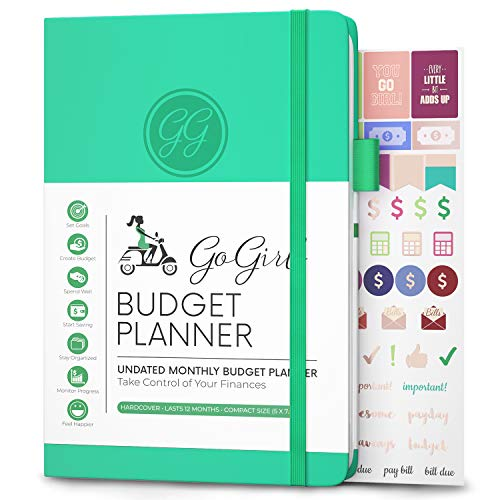"GoGirl Budget Planner - Monthly Financial Planner Organizer Budget Book. Expense Tracker Notebook Journal to Control Your Money. Undated - Start Any Time, 5.3"" x 7.7"", Lasts 1 Year - Emerald"