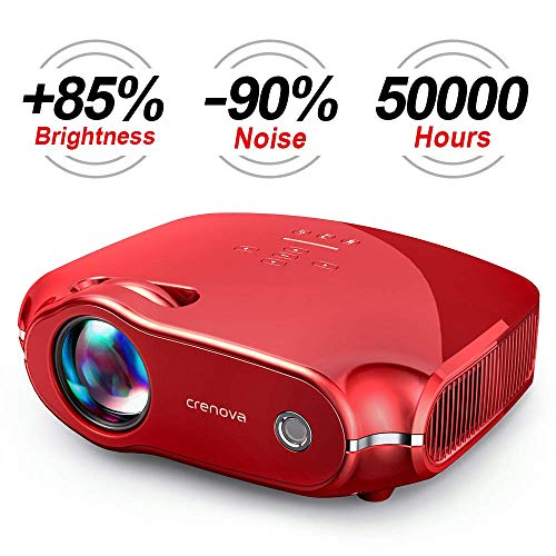 Crenova XPE498 Upgraded Projector 2019 (Tesla Red) – 3200 Lumens – Home Portable Projector – Compatible with PC/Mac/TV/DVD/iPhone/iPad/USB/SD/AV/HDMI for Home Theater/Outdoor/Video Games