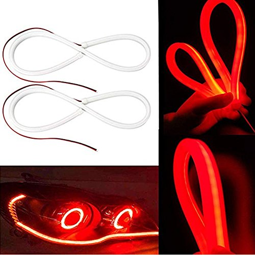 FOLCONROAD 2X Red 60cm Car Flexible Tube LED