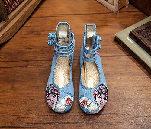WHH Ópera de Pekín Zapatos bordados, lenguado de tendón, estilo étnico, hembrashoes, moda, cómodos zapatos de lona Light Blue