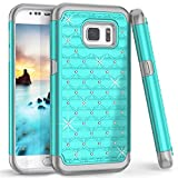 Galaxy S6 Edge Case, [Studded Rhinestone] Crystal Bling Shock Absorbing Hybrid Defender Rugged Slim Case Cover For Samsung Galaxy S6 Edge SM-G925F
