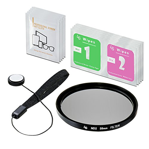 LS Photography 58mm ND2-Neutral Density-Filter Camera Accessory, Lens Cap Holder, Cleaning Wipes, LGG353 by LS Photography