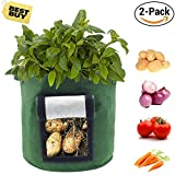 Saileve Grow Bag, 2-pack 8 gallon Planter Aeration Fabric Pots, Potato plant bag, Heavy Duty Thickened Nonwoven, With Strap Handles, with Strap Handles for Nursery Garden and Planting (green)