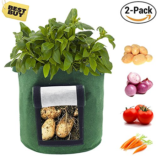 Saileve Grow Bag, 2-pack 8 gallon Planter Aeration Fabric Pots, Potato plant bag, Heavy Duty Thickened Nonwoven, With Strap Handles, with Strap Handles for Nursery Garden and Planting (green) by Saileve