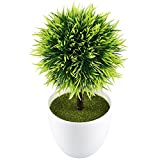 Kitchen Table Centerpieces GTidea 9.5'' Artificial Fake Potted Plants Plastic Green Topiary Ball Shrubs with White Planter Pot for Home Kitchen Office Indoor Table Centerpieces Decors