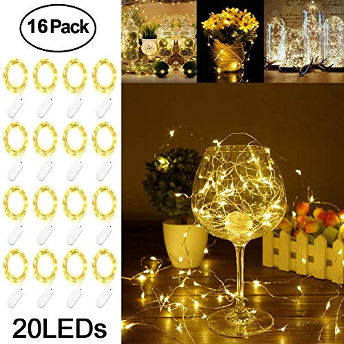 Adecorty Fairy Lights Battery Operated Mini Lights Battery Powered Fairy String Lights 16 Pack 7.2ft 20 LED Mini Battery Lights Firefly Lights for Wedding Crafts Table Reception Jars Vases Christmas -
