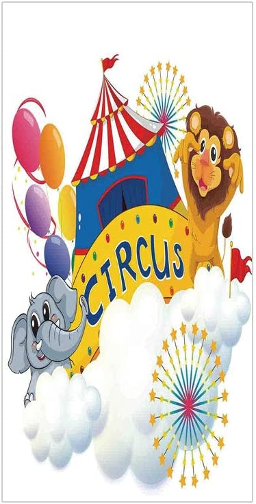 3D Decorative Film Privacy Window Film No Glue,Circus Decor,Illustration of a Lion and an Elephant Near The Circus Signage Over Clouds Decorative,for Home&Office