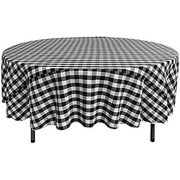 la linen poly checkered round tablecloth 72 inch black white home kitchen. Black Bedroom Furniture Sets. Home Design Ideas