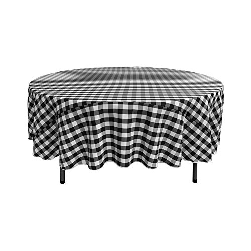 LA Linen Poly Checkered 90-Inch Round Tablecloth, Black and