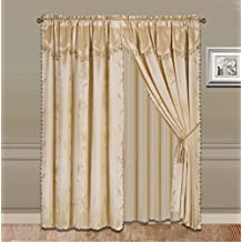 GorgeousHomeLinen 8-Piece Gold Nada Luxury Faux Jacquard Flower Design Panel, Rod Pocket Window Curtain Set Attached Valance, Panel, And Sheer- Includes 2 Tassels