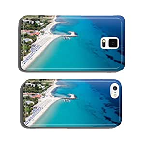 Top view of beach with tourists, sunbeds and umbrellas at a luxu cell phone cover case iPhone6 Plus