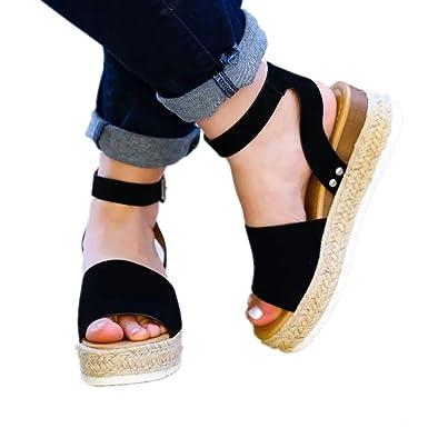 7e7d0e39ce0 Ymost Womens Espadrille Sandals Open Toe Halter Ankle Strap Flatform Wedges  Shoes