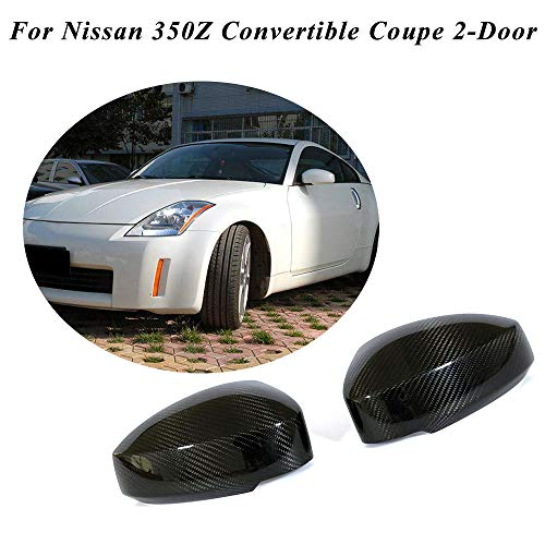 (jcsportline fits for Nissan 350Z 2-Door 2003-2009 Add on Real Dry Carbon Fiber Mirror Covers Caps)
