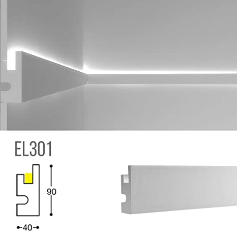 El301 Indirect Lighting Cove Moulding Wall Washer Profile For Led Strip 45 27 Inch Long