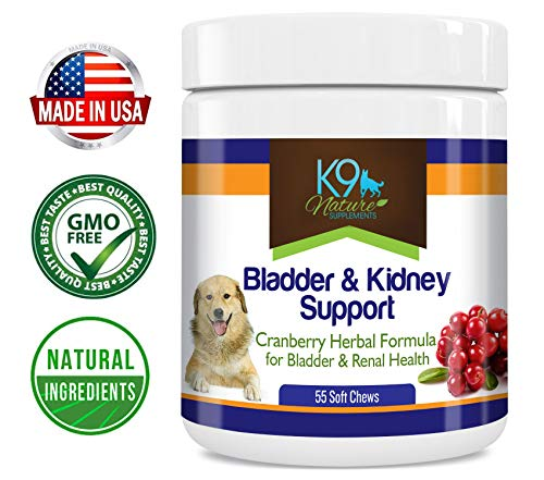(K9 Bladder Support for Dogs - Cranberry Urinary Tract Dog UTI Treats Incontinence Control Pills - no More Antibiotics Medicine for Infection Treatment - Kidney Supplement 55 Chews Senior Vitamins)