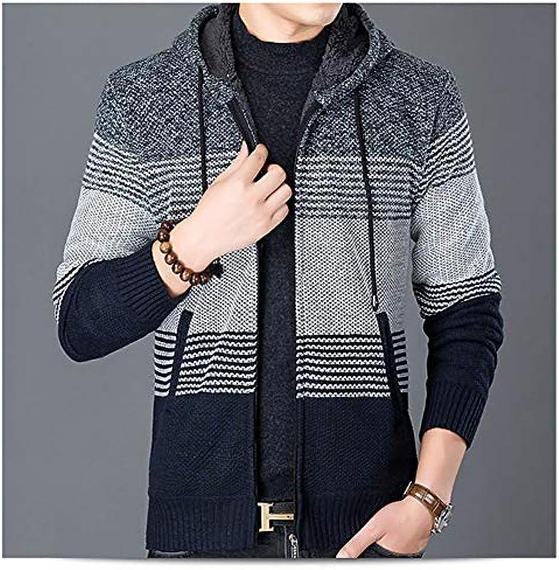 Shuanghao męska bluza z kapturem, sweter z dzianiny, kardigan, na czas wolny, zimowy, polarowa, wewnętrzna strona zewnętrzna, męska kurtka z kapturem: Odzież