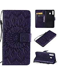 Cfrau Kickstand Wallet Case for Samsung Galaxy M30,Retro Mandala Sunflower PU Leather Magnetic Flip Folio Stand Soft Silicone Card Slots Wrist Strap Case with Black Stylus - Purple