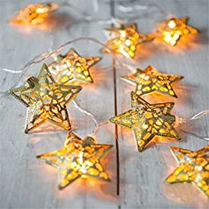 sunnior 10LED, guirnalda de luces de estrellas para Navidad, San Valentín, boda, dormitorio, fiesta decoración de interior.