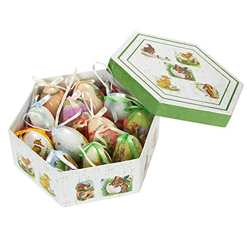 Hanging Mini Easter Egg Ornaments Decorations - Multicolor Bunny and Duckling Designs, Shabby Chic Designs for Home Décor, Multicolor, Green Box, Large Eggs , 12 Pack (Hanging Easter)