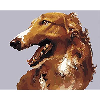 Version 3.0 HD DIY Oil Painting by Numbers Kit Theme PBN Kit for Adults Girls Kids White Christmas Decor Decorations Gifts- Dog Friend (Borzoi, with Frame): Arts, Crafts & Sewing