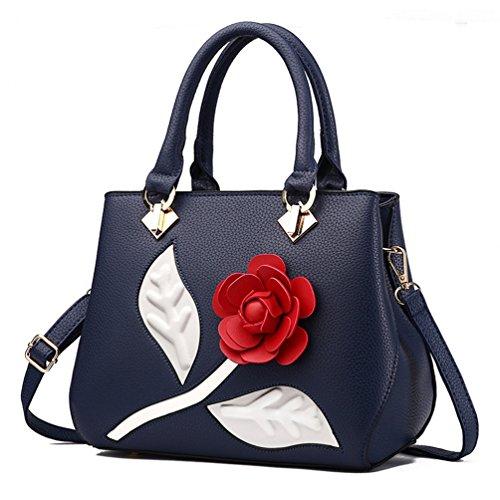 New Womens Ladies Girl Crossbody Shoulder PU Top Handle Handbag Tote Handbag Satchel Leather PU Top Handle with Rose Flower Navy Blue Flower Satchel Handbags