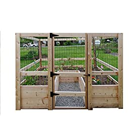"Deer-Proof Just Add Lumber Vegetable Garden Kit - 8'x8' 14 DOES NOT INCLUDE LUMBER. Kit includes everything but the lumber: 8 Raised bed brackets, black nylon netting for fencing/trellis, black vinyl-coated steel wire for gate, ceramic-coated rust resistant screws, plus all other required hardware and detailed instructions Buy your own rough lumber locally - Build the ultimate vegetable garden with this kit. Required rough construction lumber : (10) 2""x10""x8'; (1) 2""x10""x6'; (6) 2""x4""x12'; (2) 2""x4""x8'; (3) 2""x2""x12'; (1) 2""x2""x8'; (4)1-5/8""x1-5/8""x12' (actual size). Note: the lumber boards will need to be further cut into the sizes described in the assembly instructions Gated garden keeps out deer, rabbits and dogs"