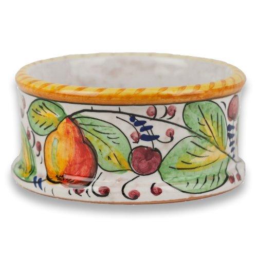 Hand Painted Frutta Mista Wine Bottle Coaster From Italy