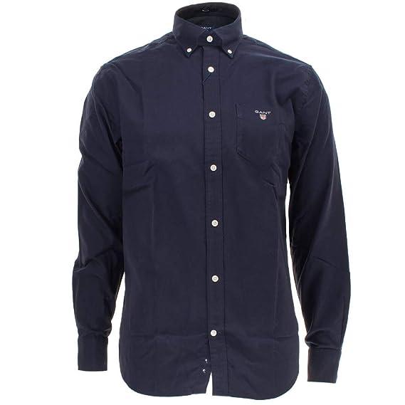 ed9f6b44 Gant Brushed Oxford Cotton Regular Shirt in Marine (Small): Amazon.co.uk:  Clothing