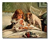 Little Girl Praying In Bed Breakfast Dog And Cat Religious Wall Picture Art Print