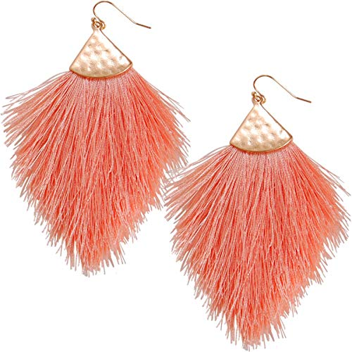 - Humble Chic Fringe Tassel Statement Dangle Earrings - Lightweight Long Feather Drops, Peach, Gold-Tone, Light Pink, Coral, Rose