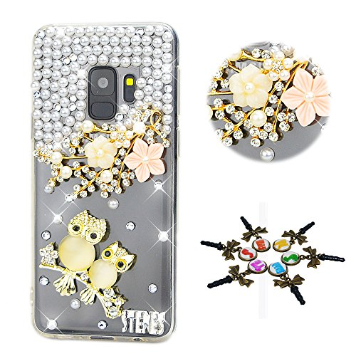 STENES Galaxy S9 Plus Case - Stylish - 100+ Bling Crystal - 3D Handmade Flowers Night Owl Design Protective Cover Case for Samsung Galaxy S9 Plus - Champagne