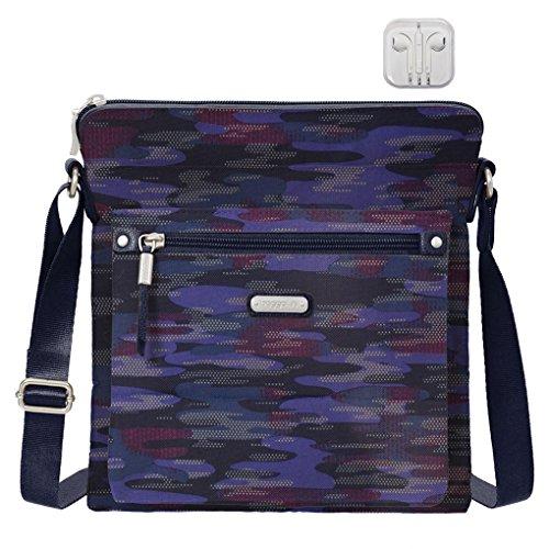 Baggallini Go Crossbody Bag, RFID Wristlet, Bundle with complimentary Travel Earphones (Moonlight Camo)
