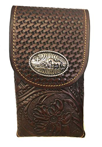 - Leather Floral Tooled Basket Weave Praying Cross Concho Belt Loop Phone Pouch (Brown)
