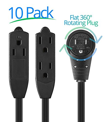 Maximm Cable 1 Ft 360° Rotating Flat Plug Extension Cord/Wire, 12 Inch Multi Outlet Extension Wire, 3 Prong Grounded Wire - Black - 10 Pack, UL ()