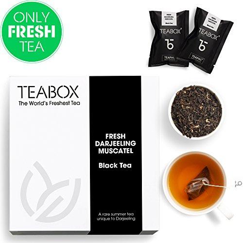 Teabox Fresh Darjeeling Muscatel Black Tea | Fragrant High-grown Tea | Weightloss, Slimming Tea | Unblended Single Origin | Box of 16 Tea Bags ()