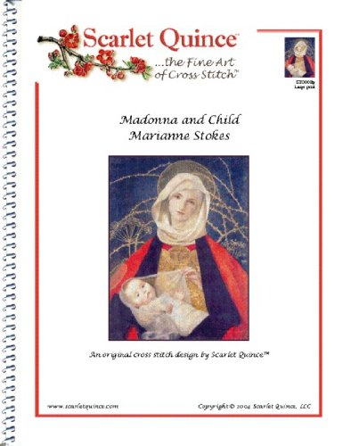 Scarlet Quince STO002lg Madonna and Child by Marianne Stokes Counted Cross Stitch Chart, Large Size Symbols Counted Cross Stitch Pattern Chart